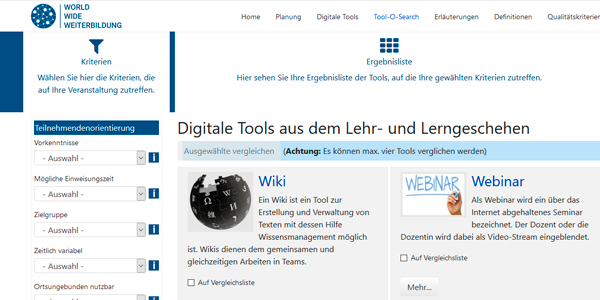 Bild: Detail Screenshot Seite https://wbdig.guetesiegelverbund.de/tool-o-search
